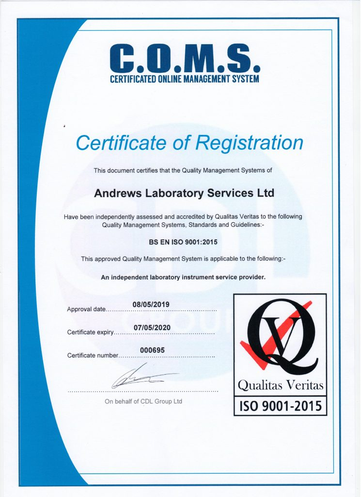 Our current ISO 9001:2015 certificate